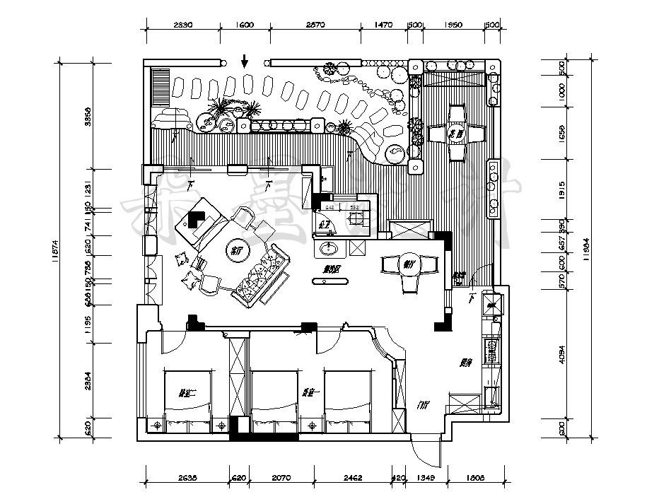 圆柱建筑手绘图