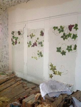 手绘墙红酒展示架